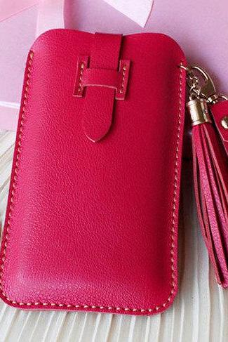 Handmade Genuine Leather Phone case in Red / Wallet / Hand bag / women wallet / leather iphone case / travel / women case / For Her/gift