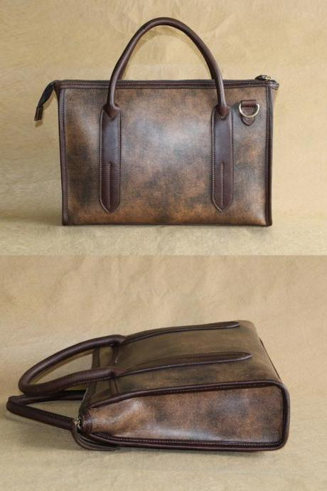 Men's leather bag / Briefcase / shoulder bag / Messenger / Laptop / Men's Bag--T014