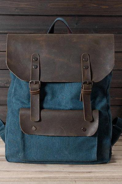 New backpack in Blue / Briefcase / Backpack / Messenger / Laptop / Men's Bag / Women's bag / travel bag / handbag / shoulder bag--T015