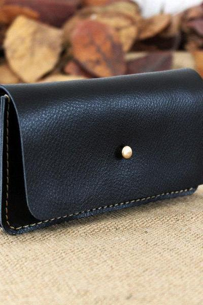 New Genuine Leather double phone wallet in Black / women wallet / men wallet t / leather bags / Phone wallet / phone case/ leather case