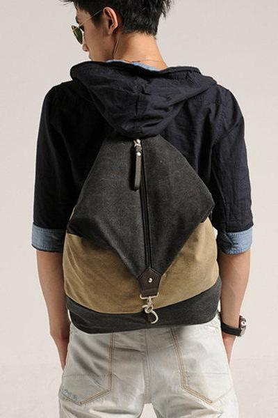 men's shoulder bag / Canvas Messenger Bag / Washed Canvas Bag / Big Bag ——T41
