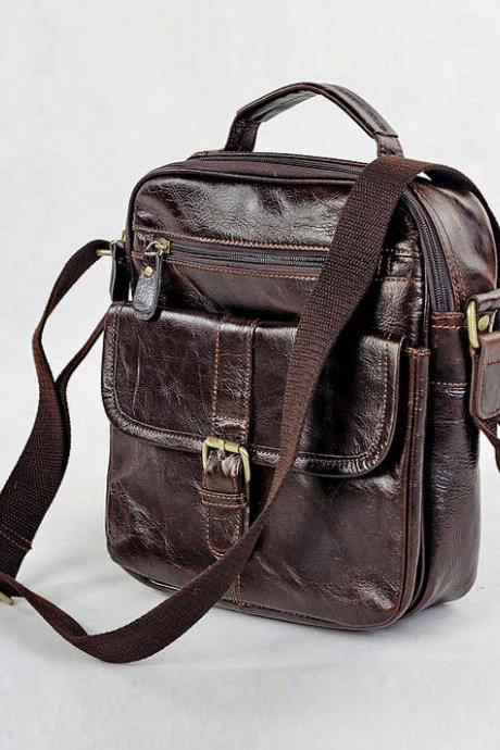 Genuine leather Bag in chocolate / Messenger / Laptop Rugged / Leather Briefcase / Backpack / Men's Bag --Y013