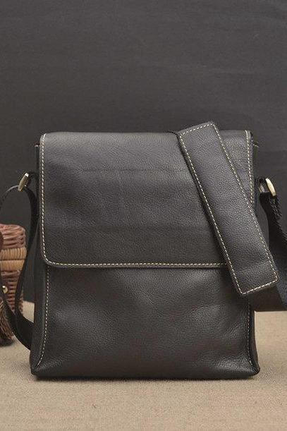 Cowhide Men's shoulder Bag - Messenger Bag - Leather Briefcase - Laptop - crossbody bag--T047