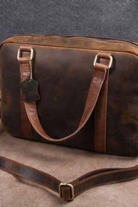 Retro Men's travel bag / Leather Briefcase / Messenger Bag / Laptop / men gift --T46