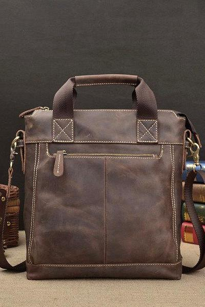 Rugged Genuine Men's Bag - Messenger Bag - Leather Briefcase - Laptop - crossbody bag--T045