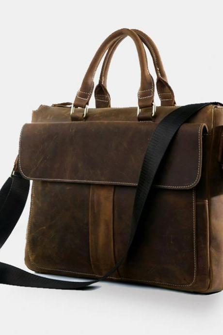 Genuine Leather Briefcase - Leather Laptop - school bag - Men's Bag in Brown--Y021