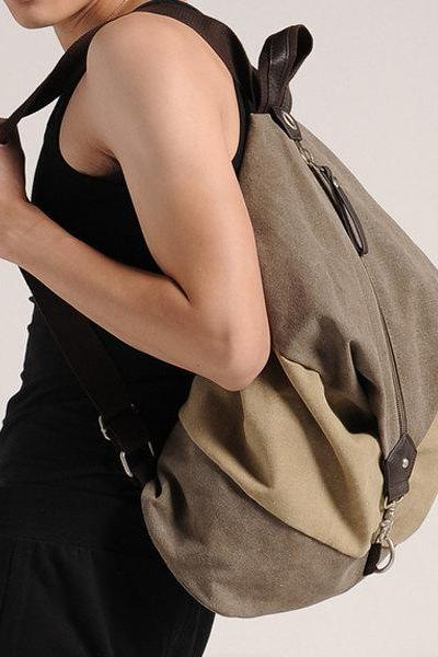 Leisure shoulder bag / Canvas Messenger Bag / Washed Canvas Bag / Big Bag ——T41
