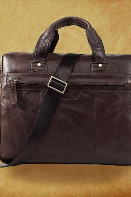 Fashion Genuine leather Bag / Rugged Leather Briefcase / Backpack / Messenger / Laptop / Men's Bag in coffee--Y011