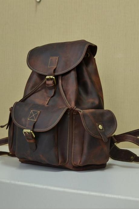 Genuine Leather Messenger / Briefcase / Backpack / Laptop / crossbody bag / Men's Bag in Brown--T038
