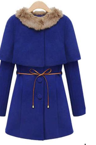 Gorgeous Fur Design Woolen Cape Coat - Blue