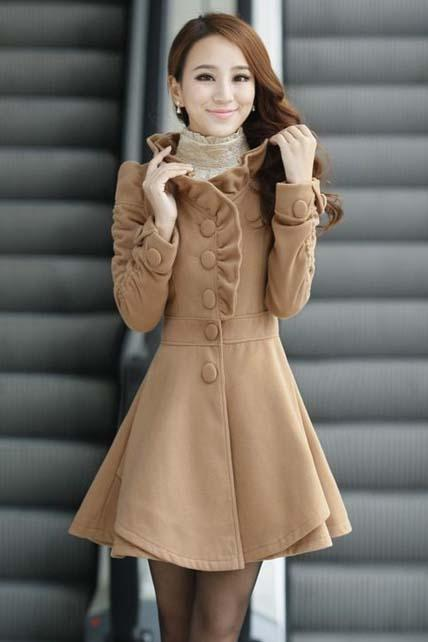 Hot Sale Mandarin Collar A Line Coat - Khaki