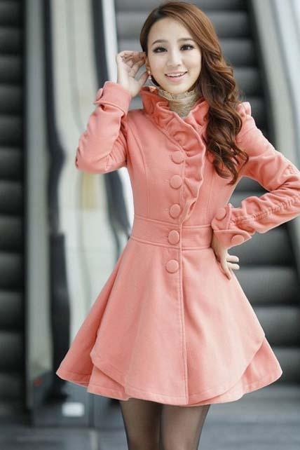 Hot Sale Mandarin Collar A Line Coat - Pink
