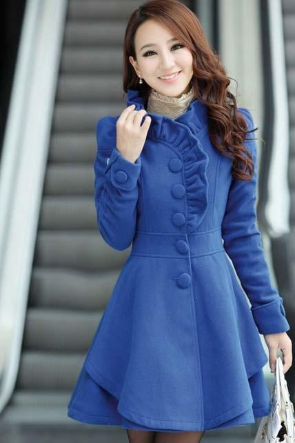Hot Sale Mandarin Collar A Line Coat - Blue