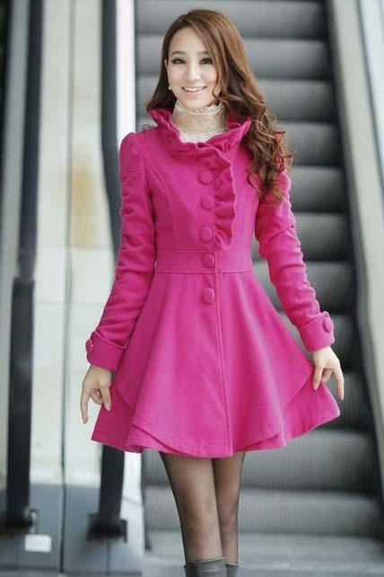 Hot Sale Mandarin Collar A Line Coat - Rose