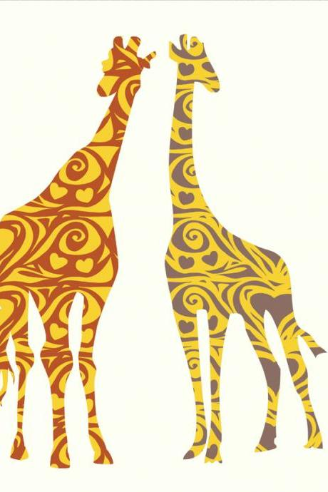 Nursery Decor Giraffe Pair Decals Wall Vinyl Sticker