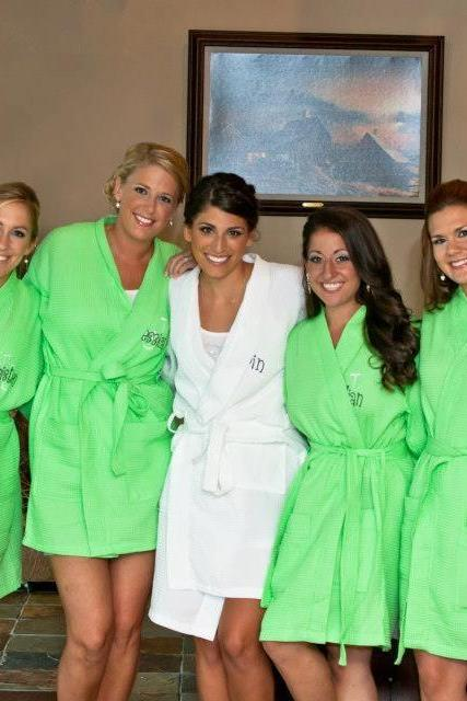 7 Personalized Spa Robes Bridesmaids gifts Free front and back embroidery custom made