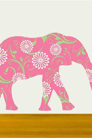 Nursery Walls Pink Elephant Vinyl Decal Sticker