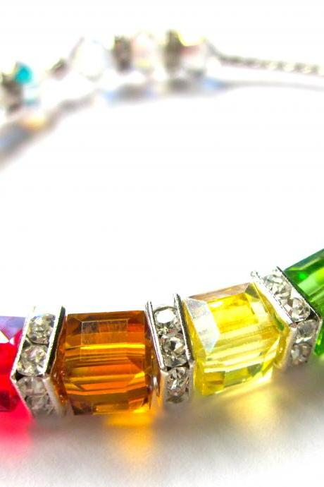 "Sparkling Swarovski Crystal "" Covenant"" Cube Bracelet, rainbow bracelet, Summer jewelry,religious jewelry, sparkle for a cause"