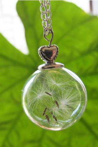 Unique Dandelion Pendant Necklace