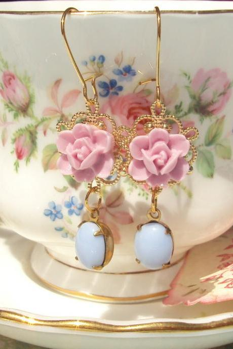 Special Delivery - Vintage Jewel and Flower Earrings