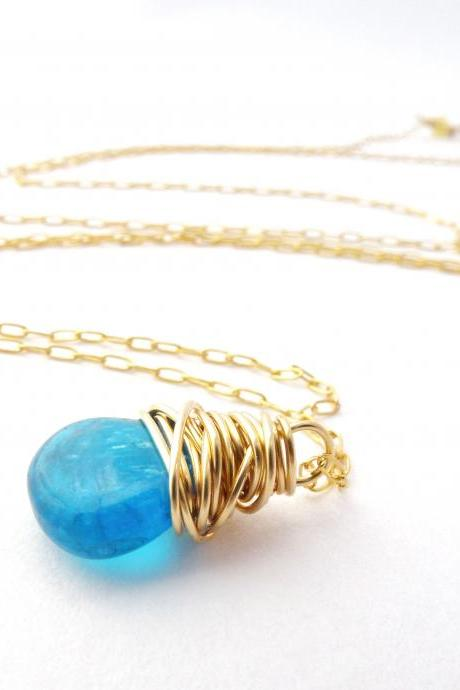 Wire Wrapped Apatite Necklace in Gold Filled
