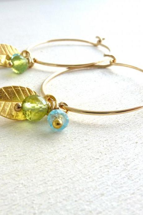 Leaf Earrings in Gold Filled with Apatite and Peridot