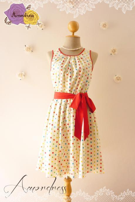 Party Dress Polka Dot Dress Vintage Inspired Dress Swing Dress -Size XS,S,M,L,XL