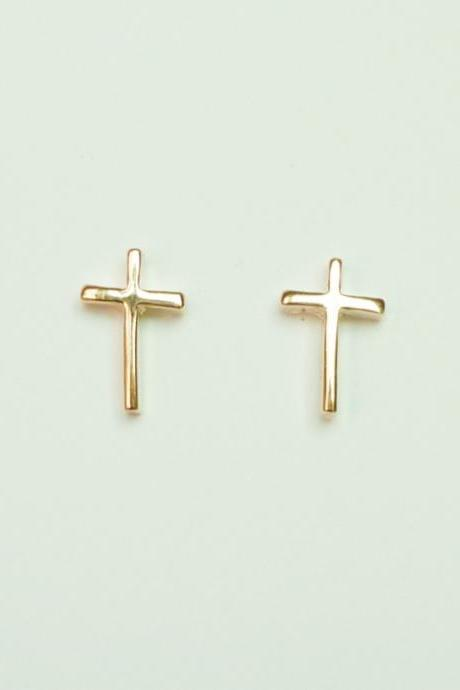 SALE - The Cross Light Rose Solid Gold/Pink Gold Plated Earring/Stud Earrings