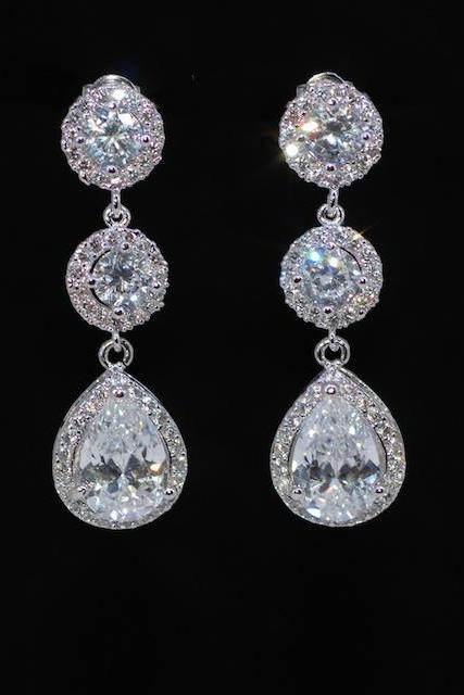 Wedding Earrings, Bridesmaid Earrings, Bridal Jewelry - Cubic Zirconia Round Earring with Small Micropave Round CZ and CZ Teardrop (E602)