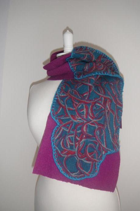 Felted Scarf, Wool Scarf with Applique, Purple and Turquoise Scarf