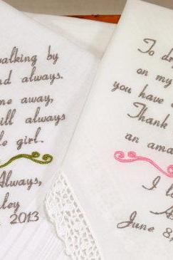 Mom Dad Embroidered Wedding Hankerchiefs handkerchiefs Personalized 2 gifts for parents