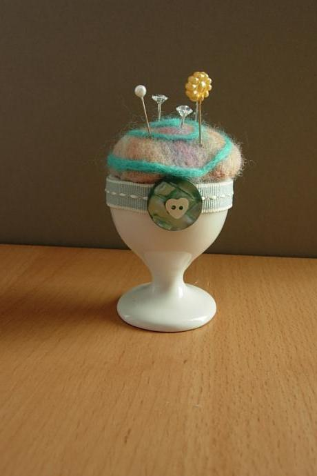 Felted Pin Cushion in a Novelty Egg Cup