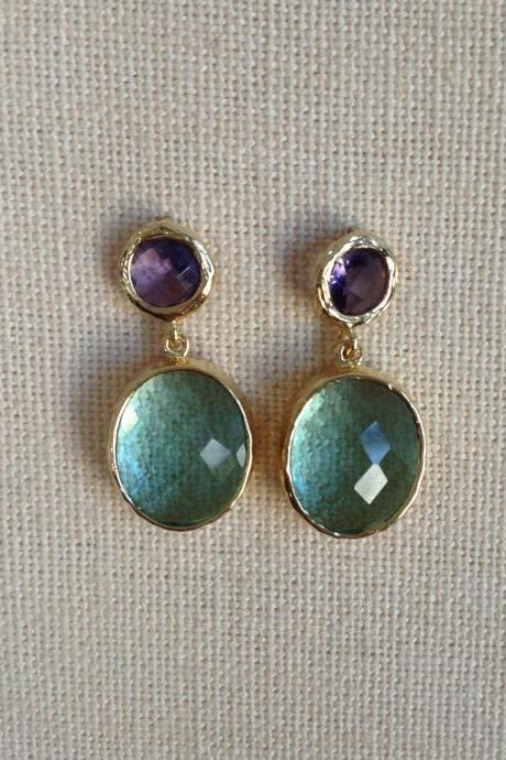 Purple Amethyst and Erinite Glass Post Earrings, Drop, Dangle, Glass Earrings, Bridesmaid Gifts,Wedding Jewelry, 925 earring post, JEW000125