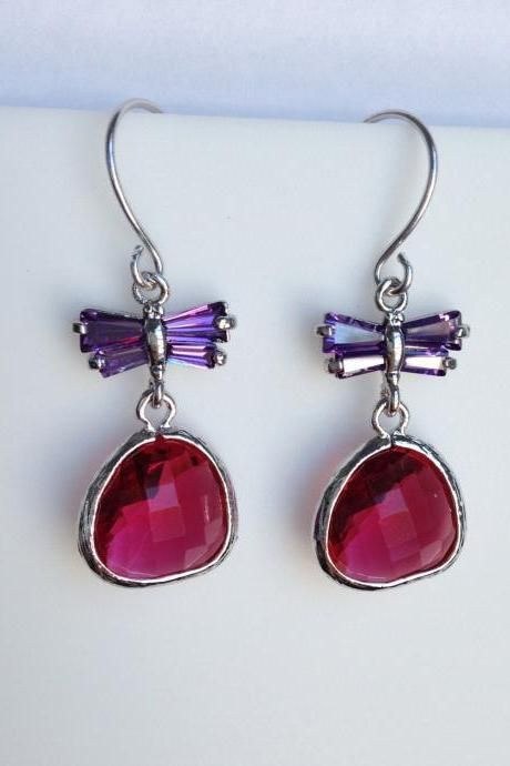 Fuchsia Teardrop and Purple Cubic Zirconia Butterfly Earrings , Drop, Dangle, Glass Earrings, Bridesmaid Gifts,Wedding Jewelry, JEW000123