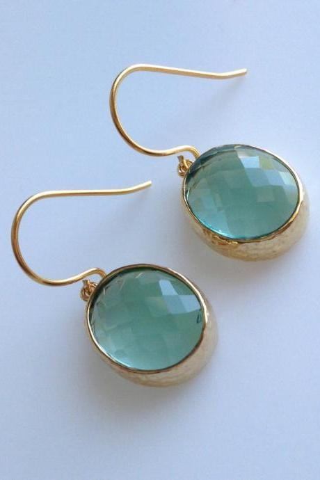 Erinite Green Oval Earrings , Drop, Dangle, Glass Earrings, Bridesmaid Gifts,Wedding Jewelry, JEW000127