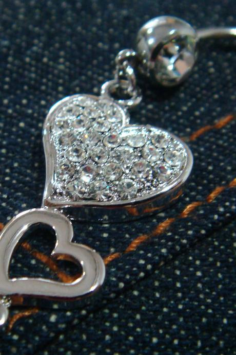 Bling Heart Love Crystal Gem Belly Button Navel Rings Bar Body Piercing