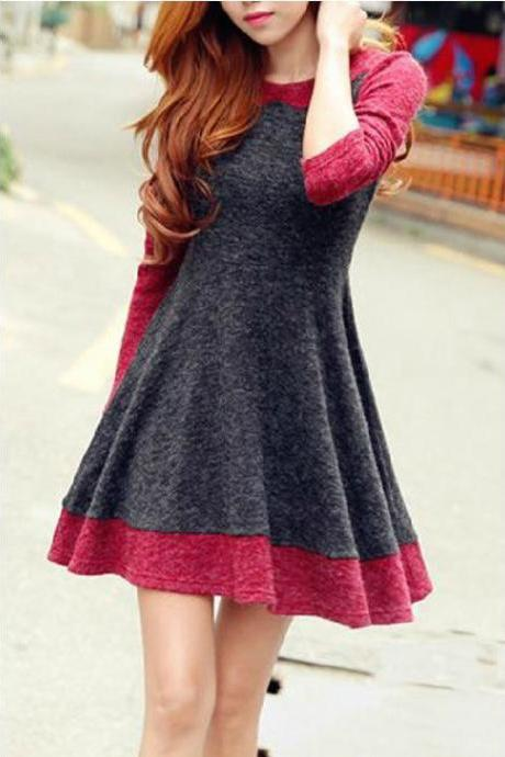 Fashion Spell Color Long Sleeve Knit Dress