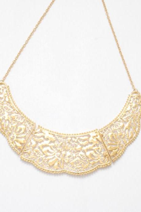 Gold filigree statement necklace, golden bib necklace, gold collar necklace jewelry