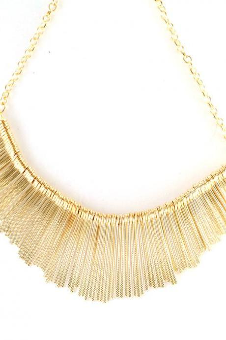 Gold statement necklace, golden tassel bib necklace, chunky necklace