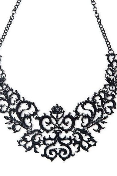 Black bib necklace, black statement necklace