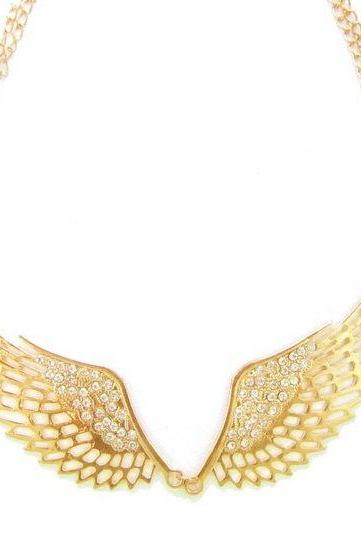 Gold angel wings statement necklace // golden collar necklace // gold bib necklace