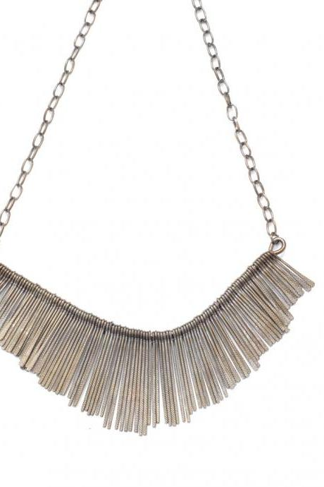 Gun black metal tassel fringe statement necklace, grey bib necklace