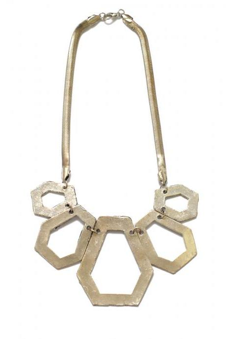 Silver statement necklace, silver bib geometric necklace, bib necklace