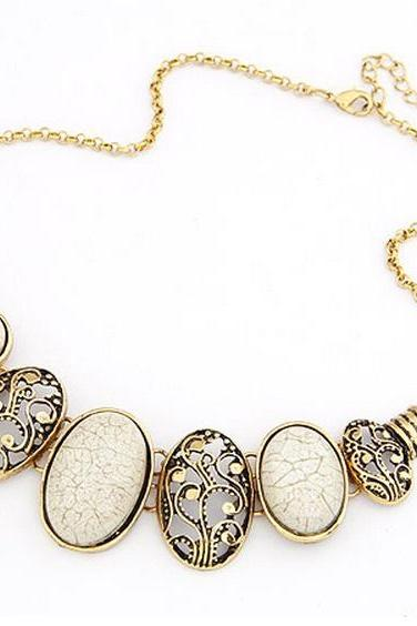 White filigree statement necklace, gold collar necklace jewellery, white bib necklace jewelry