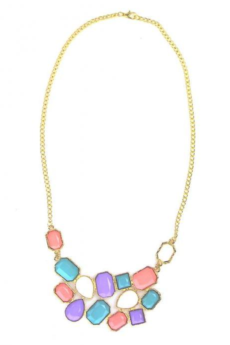 Colourful collar statement necklace, bib necklace, prom collar necklace, chunky necklace