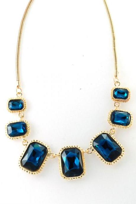 Blue statement necklace, blue collar necklace, blue bib necklace