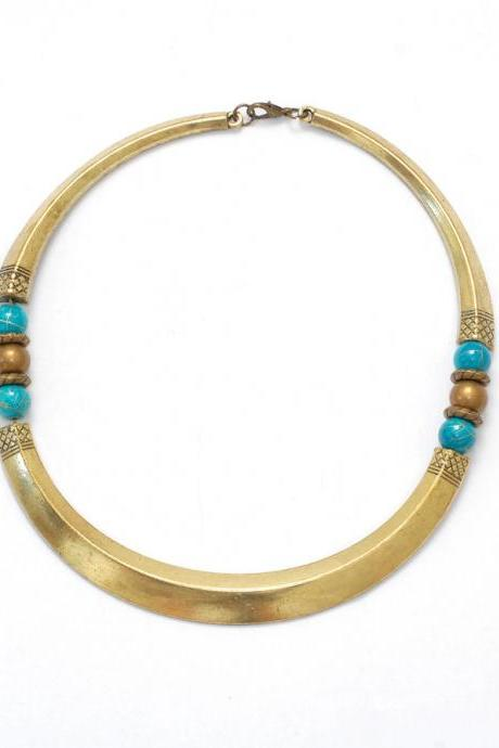 African statement necklace with blue beads // tribal collar necklace