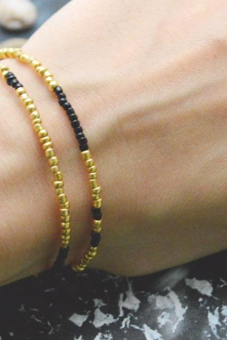 C-097 Gold Beaded bracelet, Layered, Double strand, Black Seed bead bracelet, Simple bracelet, Modern bracelet/Everyday jewelry/