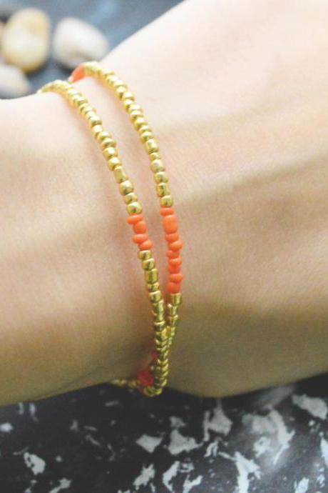 C-095 Gold Beaded bracelet, Layered, Double strand, Orange Seed bead bracelet, Simple bracelet, Modern bracelet/Everyday jewelry/