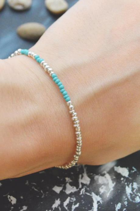 C-091 Silver Beaded bracelet, Seed bead bracelet, Turquoise beads, Simple bracelet, Modern bracelet/Everyday jewelry/